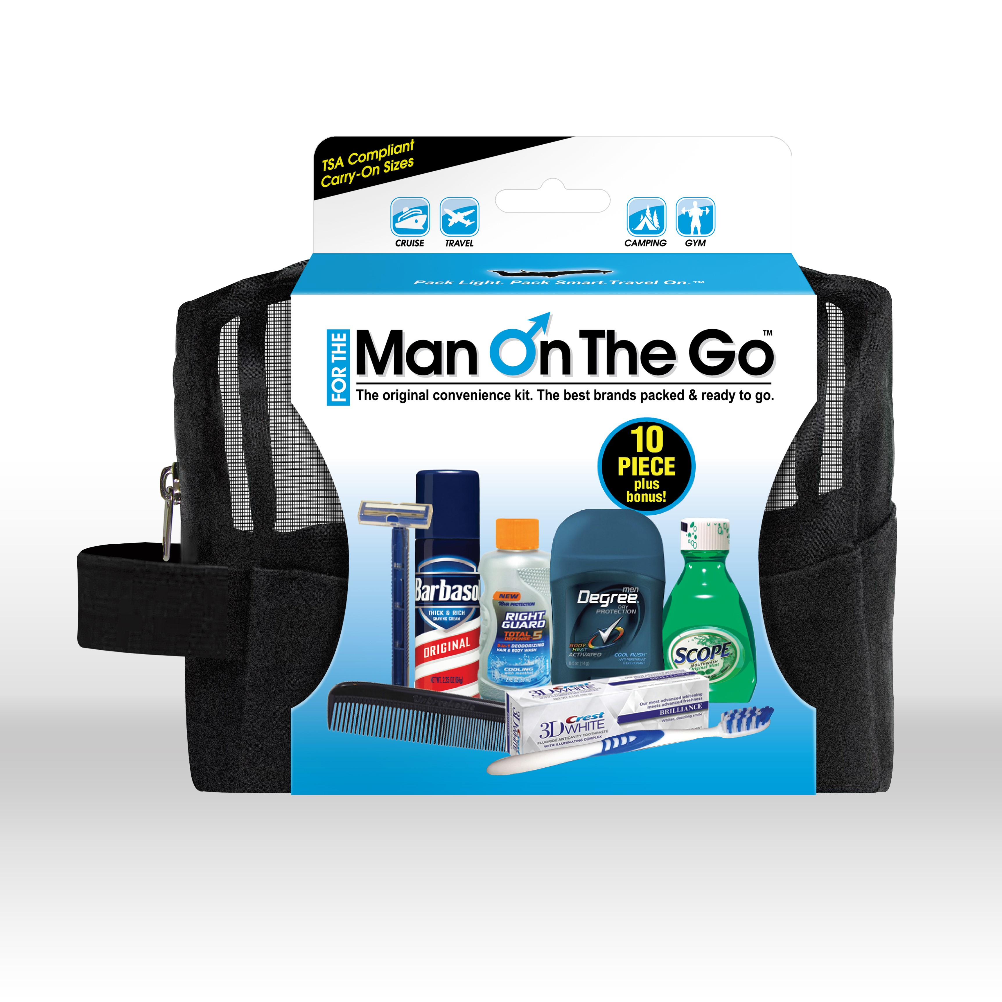 Man on the Go 10 pc Premium Travel Kit with Barbasol Shave ...