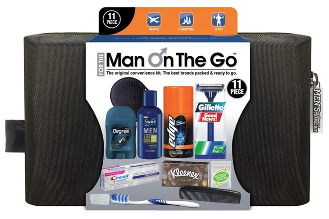 Men's Deluxe 11 PC Black Zippered Bag